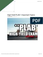 HIGH YIELD PLAB TOPICS