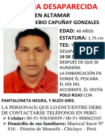 Afiche de Busqueda Carlos Capuñay Ecuador