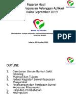 Paparan Hasil Survei Kepuasan Pelanggan September 2019