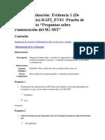 """Realizar Evaluación Evidencia 1 de Conocimiento RAP2 EV01 Prueba de Conocimiento """"Preguntas Sobre Planificación Del SG SST"""