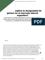 Como Se Explica La Desigualdad de Genero en El Mercado Laboral Argentino - Infobae
