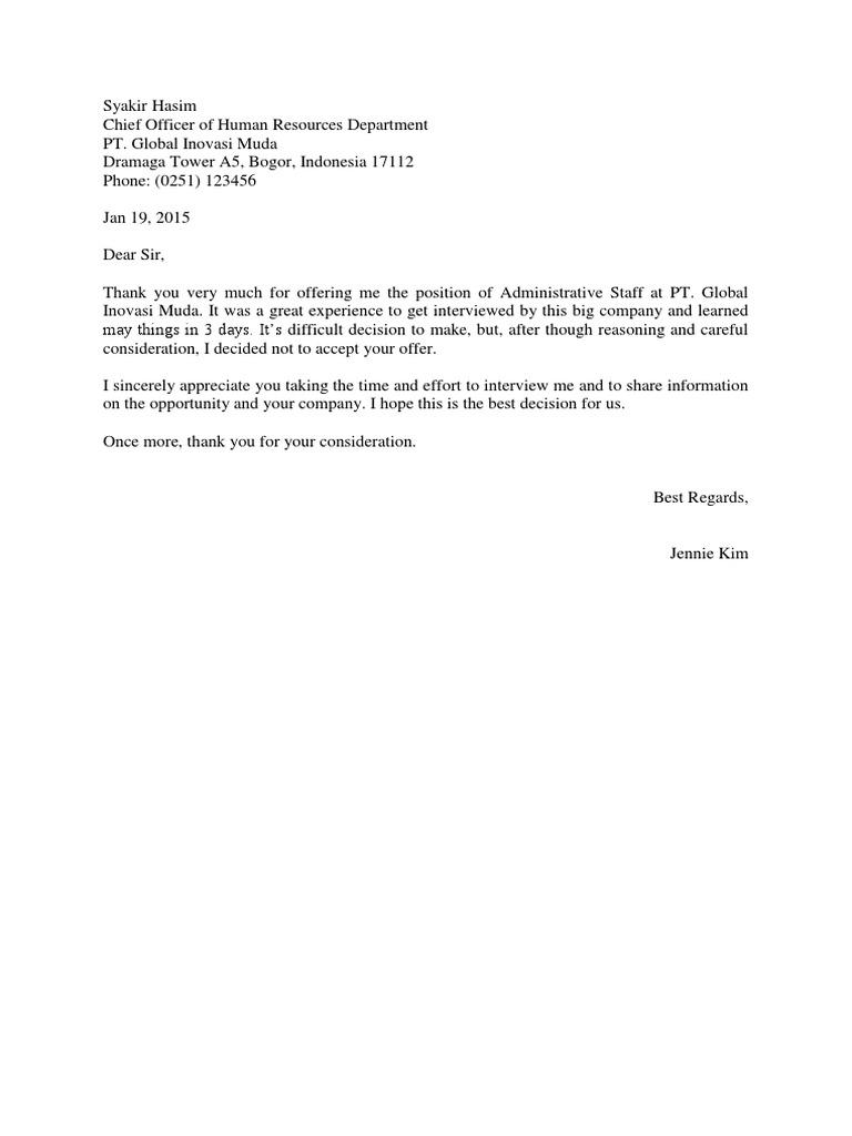 Surat Penolakan Tawaran Kerja Bahasa Inggris - malaymalaq