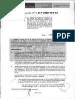 RESOLUCION N°1647-2018-TCE (APLICACION SANCION)