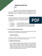 MEJORAMIENTO DE LA PRESTACION DE LOS SERVICIOS DE SALUD DEL PUESTO DE SALUD COCHAMARCA DE NIVEL 1-1, DISTRITO DE VICCO - PROVINCIA PASCO - PASCO