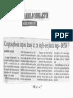 Manila Bulletin, Dec. 5, 2019, Congress should impose heavy tax on single-use plastic bags - DENR.pdf