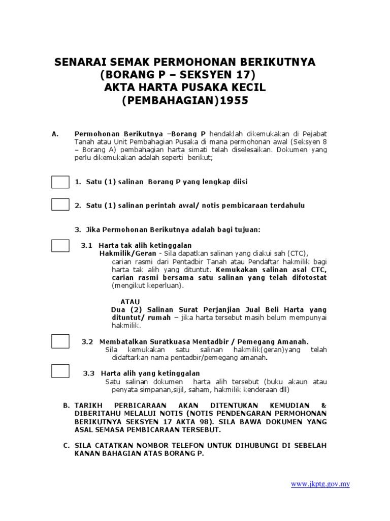 Senarai Semak Borang P Docx