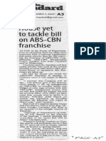 Manila Standard, Dec. 5, 2019, House yet to tackle bill on ABS_CBN franchise.pdf
