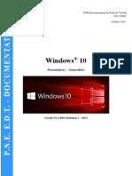 PNE Environnement Du Poste de Travail CP2I _ DONC. Octobre Windows 10. Présentation Généralités. Version Pro (Redstone )