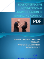 Role of Effective Inter-personal Communication in Managing Conflict