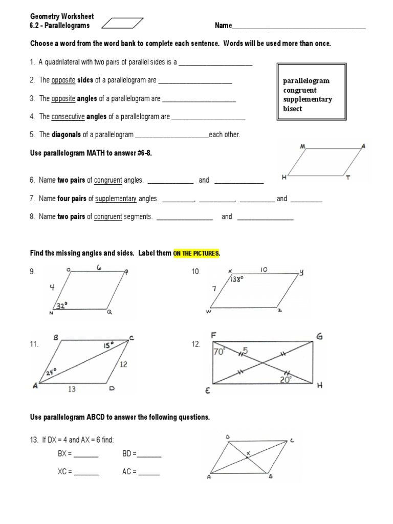 parallélograme For Properties Of Parallelograms Worksheet