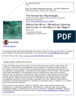 Behind the Mirror - Reflective Listening and Its Tain in the Work of Carl Rogers by Kyle Arnold
