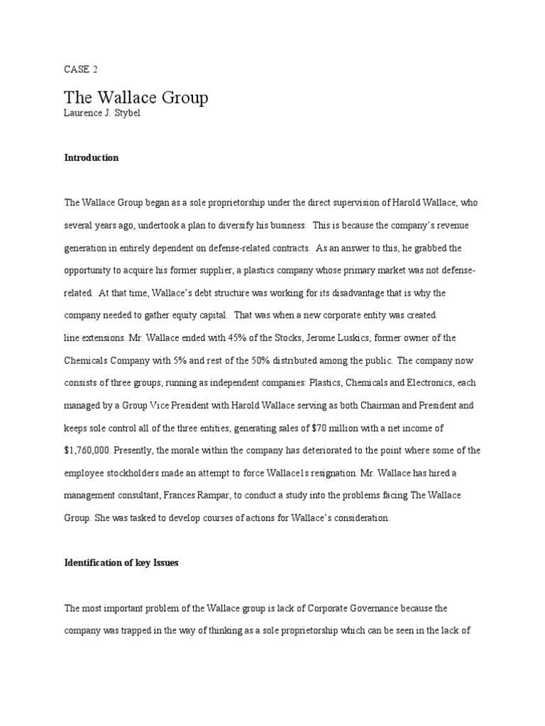 case 2 the wallace group by laurence j stybel The wallace group laurence j stybel | | | case 2 the wallace group, inc i  case abstract harold wallace, founder, serves as chairman.