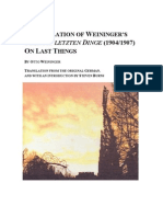 On Last Things - Weininger