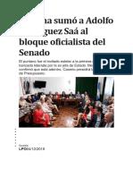 Cristina Sumó a Adolfo Rodríguez Saá Al Bloque Oficialista Del Senado