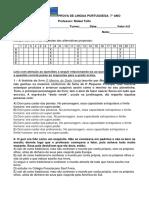 Prova de Lingua Portuguesa 3 Tri