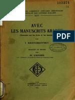 Avec Les Manuscrits Arabes - Kratchkovski