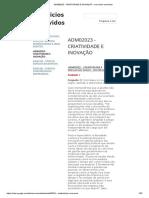 Adm02023 - Criatividade e Inovação - Exercicios Resolvidos
