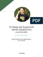 10 Wege Die Superkraft Deines Gedaechtnis Zu Entwickeln Mit Jim Kwik Arbeitsbuch Editable