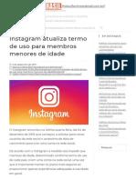 Instagram Atualiza Termo de Uso Para Membros Menores de Idade