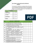 Cuestionario Sobre La Recaudación Del Impuesto Predial