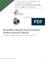 Entrevista a Jacques Lacan en Roma. Emilia Granzotto (Roma)