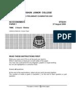2009 H2 Econ Prelim Case Study - Question Paper