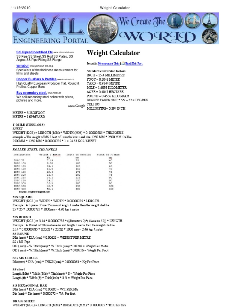 Mild Steel Plate Weight Calculator Best Plate 2018