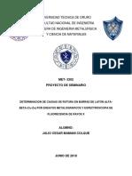 DETERMINACION DE CAUSAS DE ROTURA EN BARRAS DE LATÓN ALFA-BETA (Cu-Zn) POR ENSAYOS METALOGRAFICOS Y ESPECTROSCOPIA DE FLUORESCENCIA DE RAYOS X