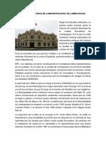 Reseña Historica de La municipalidad de Lambayeque