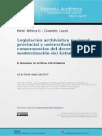 Legislación archivística nacional, provincial y universitaria. Las consecuencias del decreto de modernización del Estado