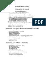 Comandos Sistema Operativo Linux