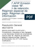 """RG 4627 AFIP Emisión Factura Clase """"M"""". Régimen de Retención. Régimen Especial de Pago"""