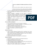 Listagem de Itens Para Observar as Condições de Trabalho Dos Professores Na Escola