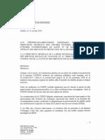 Lettre du ministère de la Santé et des Services sociaux