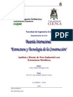 Análisis y Diseño de Nave Industrial Con Estructuras Metálicas.
