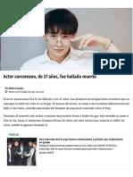 Actor Surcoreano, De 27 Años, Fue Hallado Muerto Suicidio Metro Ecuador Artículo
