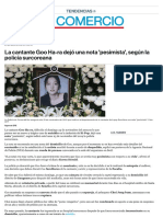 La Cantante Goo Ha-ra K POP Dejó Una Nota 'Pesimista Suicidio El Comercio Artículo
