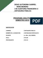 Programa de Avance  de contabilidad minera