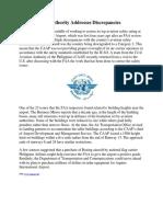 Civil Aviation Authority Addresses Discrepancies