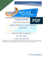Balaji Spun Pipes Company Profile