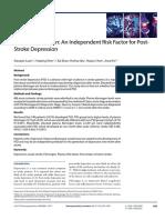 Plasma Fibrinogen an Independent Risk Factor for Post Stroke Depression