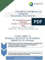 Estudo de Eficiência Energética do EnergyIN:Resultados Preliminares