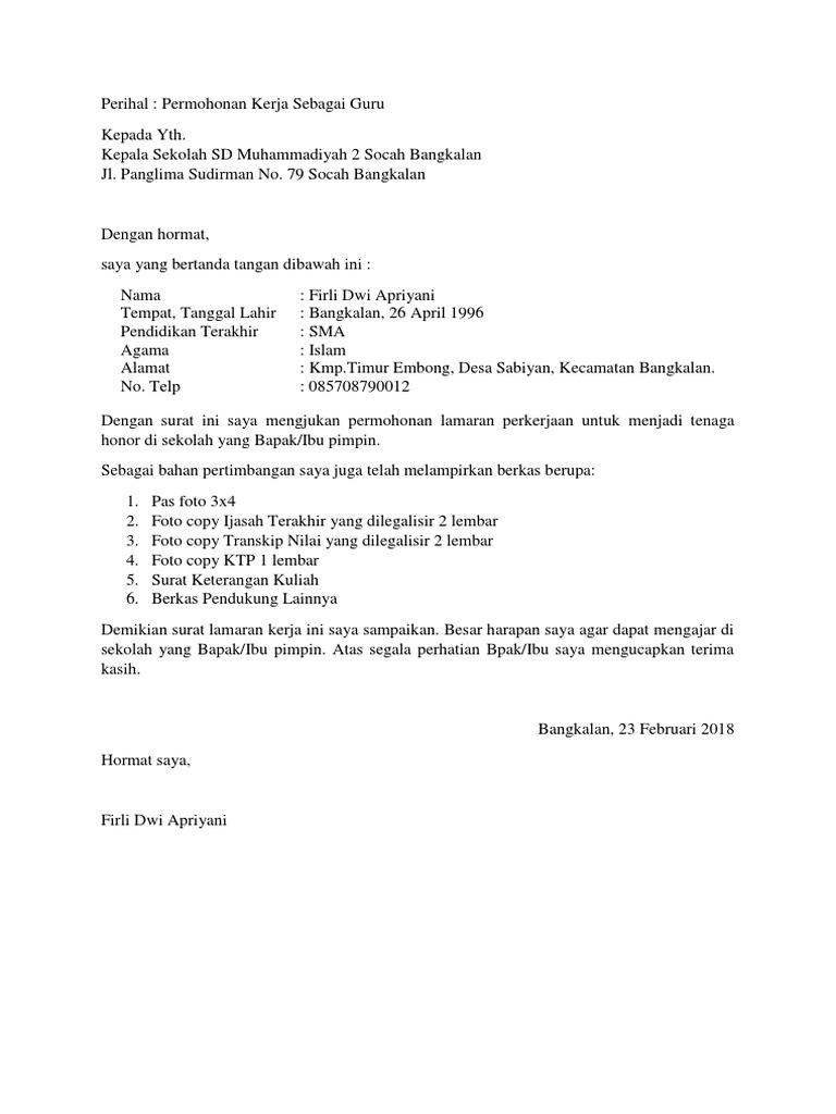 Surat Lamaran Kerja Sd Muhammadiyah 02