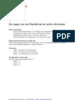 FILTERFABRIEK Regels en extra informatie (W70)