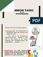 Common Tasks of an Entrepreneur