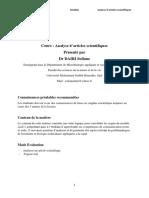 Cours Analyse d Articles Premiere Partie