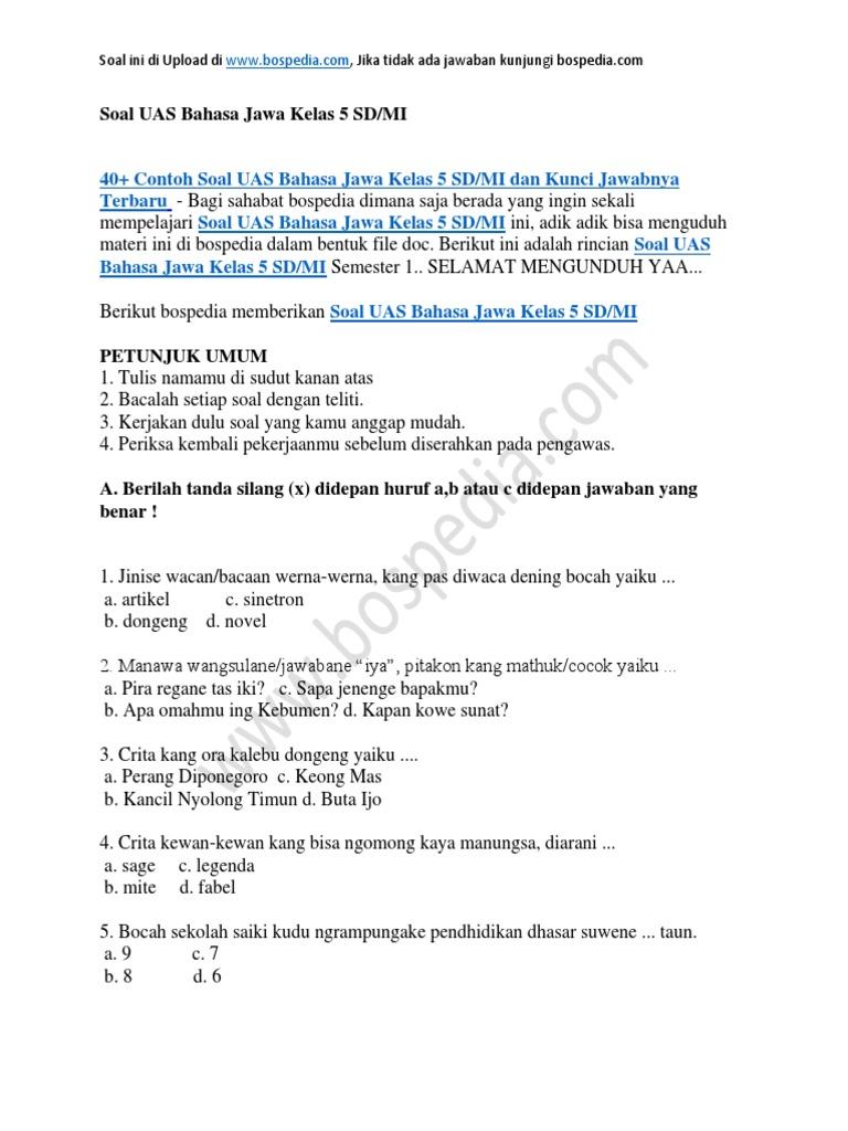 Contoh Soal Bahasa Jawa Dan Jawabannya Kelas 11 Bali Teacher