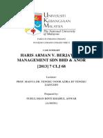 HARIS ARMAN V BERJAYA TS SDN BHD Case Report