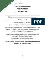 Short y9 Algebra Test