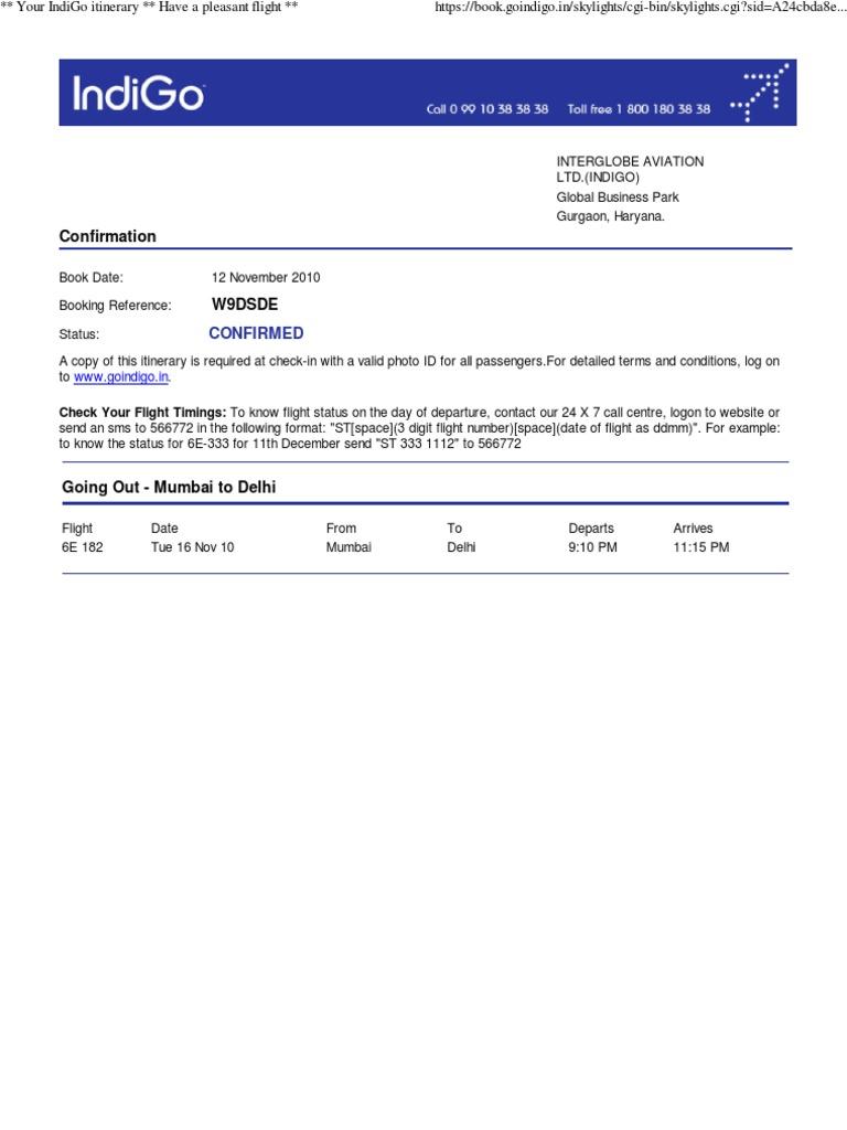 fake itinerary template
